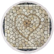 Heart Shaped Traditional Portuguese Pavement Round Beach Towel