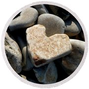 Round Beach Towel featuring the photograph Heart Stone by Lainie Wrightson