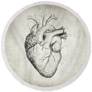 Round Beach Towel featuring the drawing Heart by Taylan Apukovska