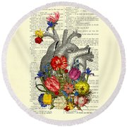 Heart With Colorful Flowers Round Beach Towel
