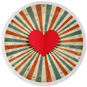 Heart With Ray Background Round Beach Towel