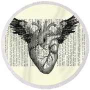 Heart With Wings In Black And White Round Beach Towel