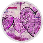Hearts Abstract Round Beach Towel