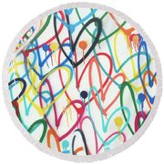 Hearts And Dots Round Beach Towel