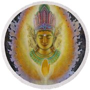 Round Beach Towel featuring the painting Heart's Fire Buddha by Sue Halstenberg