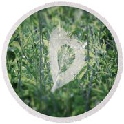 Hearts In Nature - Heart Shaped Web Round Beach Towel
