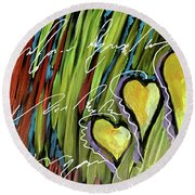 Hearts In The Grass Round Beach Towel