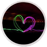 Hearts In The Night Round Beach Towel