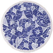 Hearts, Spades, Diamonds And Clubs In Blue Round Beach Towel