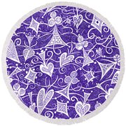 Hearts, Spades, Diamonds And Clubs In Purple Round Beach Towel