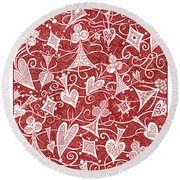 Hearts, Spades, Diamonds And Clubs In Red Round Beach Towel