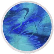 Heartsong Blue 1 Round Beach Towel