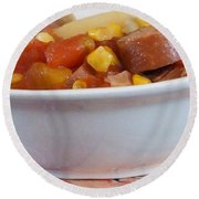 Hearty Ham, Smoked Sausage And Vegetable Soup Round Beach Towel