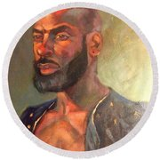 Round Beach Towel featuring the painting Heat Merchant by JaeMe Bereal
