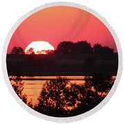 Heat Wave Sunrise Round Beach Towel