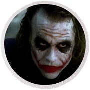 Round Beach Towel featuring the photograph Heath Ledger Joker Why So Serious by David Dehner