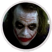 Heath Ledger Joker Why So Serious Round Beach Towel