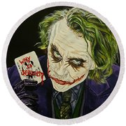 Heath Ledger The Joker Round Beach Towel by David Peninger