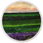 Heathcliff In Purple Round Beach Towel