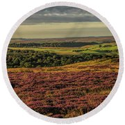 Heather On The Moors Round Beach Towel