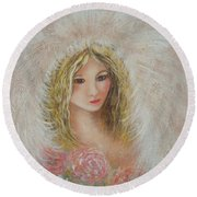Heavenly Angel Round Beach Towel by Natalie Holland