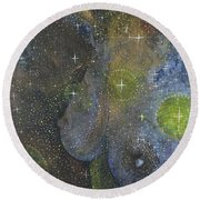 Round Beach Towel featuring the painting Heavenly Body Aka The Milky Way by Kym Nicolas
