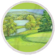 Heavenly Golf Day Landscape Round Beach Towel