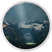 Round Beach Towel featuring the photograph Heavenly Lake Louise by William Lee
