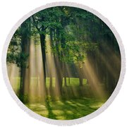 Round Beach Towel featuring the photograph Heavenly Light Sunrise by Christina Rollo