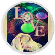 Round Beach Towel featuring the digital art Heavenly Love by Kathy Tarochione