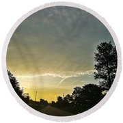Heavenly Morning In Helena Round Beach Towel by Maria Urso