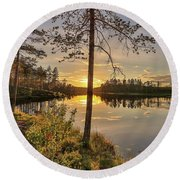 Round Beach Towel featuring the photograph Heavenly Sunset by Rose-Marie Karlsen