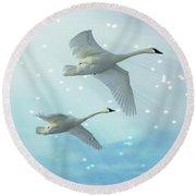 Heavenly Swan Flight Round Beach Towel