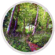Heavenly Walk Among Birch And Aspen Round Beach Towel