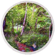 Round Beach Towel featuring the painting Heavenly Walk Among Birch And Aspen by Jane Small