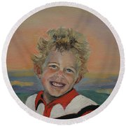 Heaven's Child Round Beach Towel by Jan Dappen