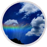 Heavens Rainbow Round Beach Towel