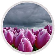 Heavy Clouds Round Beach Towel by Mihaela Pater