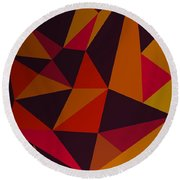 Heavy Composition With Triangles Round Beach Towel
