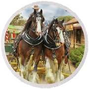Heavy Horses Round Beach Towel