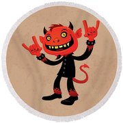 Heavy Metal Devil Round Beach Towel