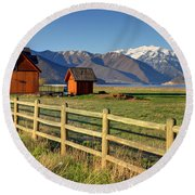 Heber Valley Ranch House - Wasatch Mountains Round Beach Towel