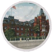 Round Beach Towel featuring the photograph Hebrew Orphan Asylum by Cole Thompson