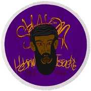 Hebrew Shalom 1 Round Beach Towel
