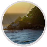 Heceta Head Lighthouse At Sunset Round Beach Towel