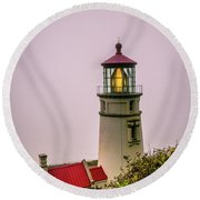 Heceta Head Lighthouse In The Fog Round Beach Towel
