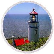 Heceta Head Lighthouse Round Beach Towel by Wendy McKennon