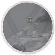 Heceta Lighthouse Snowstorm Round Beach Towel by Kenny Henson