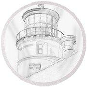 Hecitia Head Lighthouse Sketch Round Beach Towel