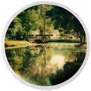 Heckscher Park Pond, Huntington Ny Round Beach Towel